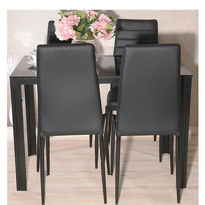 Black Modern Glass Dining Room Table Kitchen Desk and 4 Leather Chairs Seats New