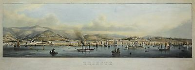 Rieger: Original Alkol. Lithography View Trieste Panorama Italy Italia; 1860