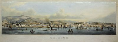 Rieger: Original alkol. Lithography View Triest Panorama Italy Italia; 1860