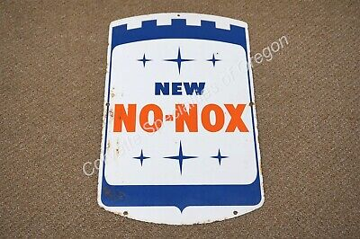 "Vintage Gulf New No Nox 11.25""x17.5"" Gas Station Oil Pump Fuel OK GM Porcelain"
