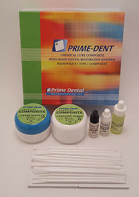 Prime Dent Dental Chemical Self Cure Composite Kit 15gm /15gm. EXPIRES 10/2020