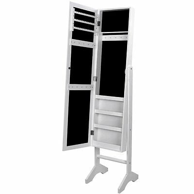 Bedroom Jewellery Cabinet & Standing Mirror Box Organiser Two In One, White
