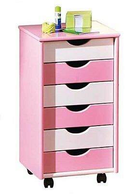 Solid Wood Bedroom 6 Drawer Chest, Pink & White