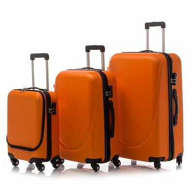 Siesta Design Set 3 Bagagli in ABS Valige Col. Orange Trolley da viaggio Rigide