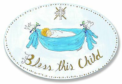 The Kids Room by Stupell Bless This Child with Baby in Blue Hammock Oval ... New