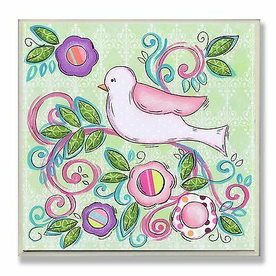 The Kids Room by Stupell Pink Bird Facing Left on a Floral Branch Square ... New
