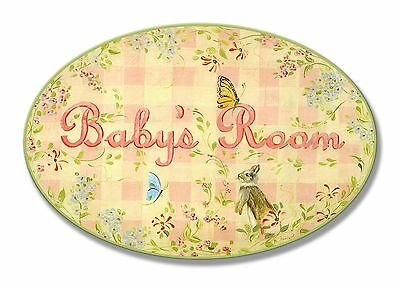 The Kids Room by Stupell Baby's Room Bunny and Butterflies Oval Wall Plaque New