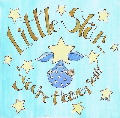 The Kids Room by Stupell Little Star You're Heavent Sent Blue Bundled Bab... New