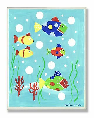 The Kids Room by Stupell Multi-color Fish Rectangle Wall Plaque New