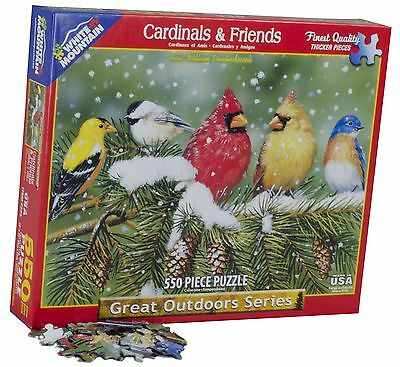 White Mountain Puzzles Cardinals and Friends - 1000 Piece Jigsaw Puzzle New