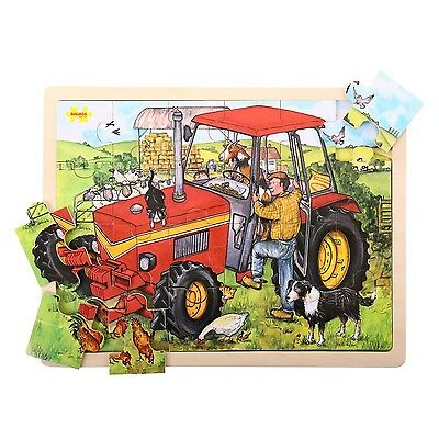 Bigjigs Toys BJ744 Tray Puzzle Tractor New