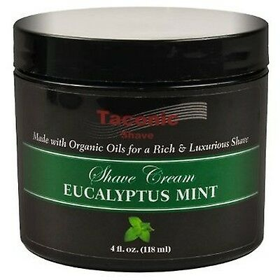 Taconic Shave EUCALYPTUS & MINT Shaving Cream with Organic Oils - 4 oz. New