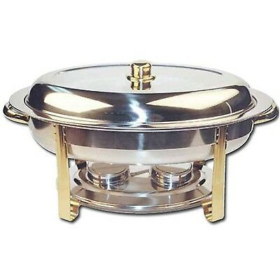 Winco Winware 6 Quart Stainless Steel Gold Accented Chafer (202) New