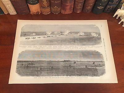 Original Antique Civil War CHARLESTON South Carolina SC Engraved Panoramic Map