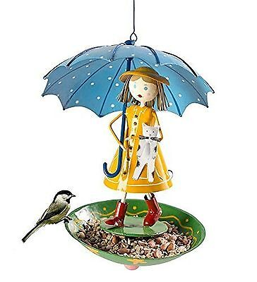Handmade Iron Rain Girl Bird Feeder with Kitten New
