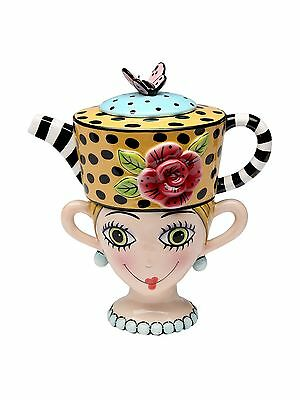 Appletree Design Lady Lux Tea for One Set Teapot Rests on Top of Tea Cup ... New
