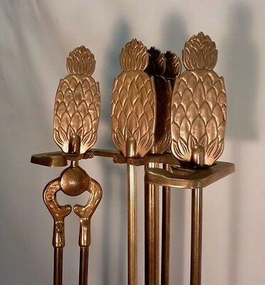 Vtg 5 Piece PINEAPPLE Brass FIREPLACE TOOL SET Tropical Theme Rack
