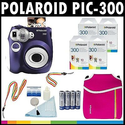 Polaroid PIC-300 Instant Film Analog Camera (Purple) with (4) Polaroid 30... New