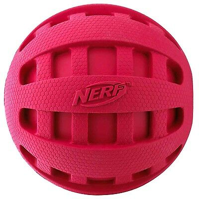 Nerf Dog Checker Squeak Rubber Ball Dog Toy Medium/Large Red New