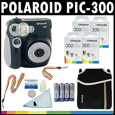 Polaroid PIC-300 Instant Film Analog Camera (Black) with (4) Polaroid 300... New