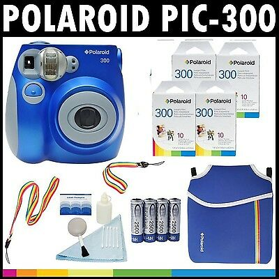 Polaroid PIC-300 Instant Film Analog Camera (Blue) with (4) Polaroid 300 ... New