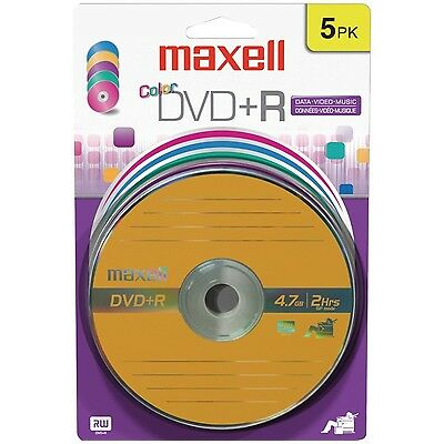 Maxell 4.7 GB DVD+R Color 5pk Card (5-Pack) New