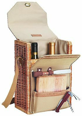 Picnic Time Corsica Insulated Wine Basket with Wine/Cheese Accessories New
