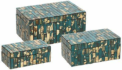 IMAX 80018-3 Glacier Mosaic Boxes (Set of 3) Turquoise New