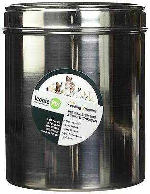 Iconic Pet 51660 Canister Side See Through/Steel Lid Large New