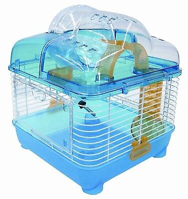 YML Clear Plastic Dwarf Hamster Mice Cage with Ball on Top Blue New