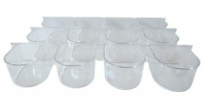 YML Lot of 12 Clear Plastic Cup for Breeding Cages New