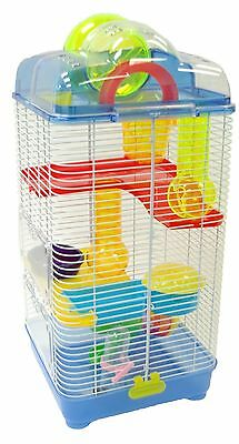 YML 3 Level Clear Plastic Dwarf Hamster Mice Cage with Ball on Top Blue New