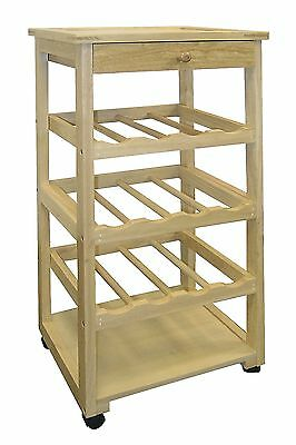 Ore International F-2002 Wooden Wine Rack with Wheels New