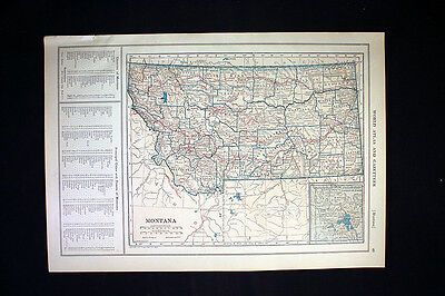 Antique Map 1921 Color State of Montana or Nebraska