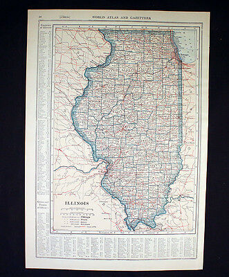 Antique Map 1921 Color State of Illinois or Idaho