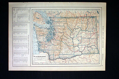 Antique Map 1921 Color State of Washington or Wisconsin