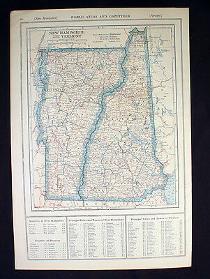 Antique Map 1921 Color New Hampshire and Vermont or Nevada