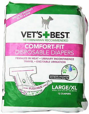 Vets Best Vet's Best 12 Count Comfort Fit Disposable Female Dog Diapers L... New
