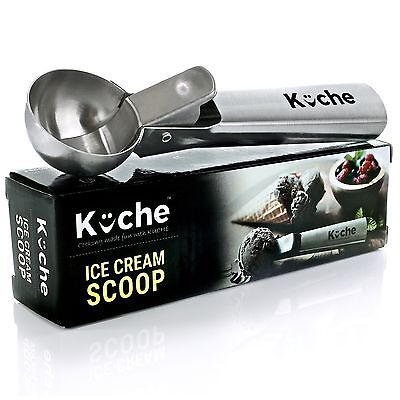 KUCHE Easy Trigger Stainless Steel Ice Cream Scoop Cookie Dough and Water... New