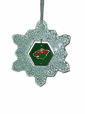 Minnesota Wild Glass Snowflake Christmas Ornament New