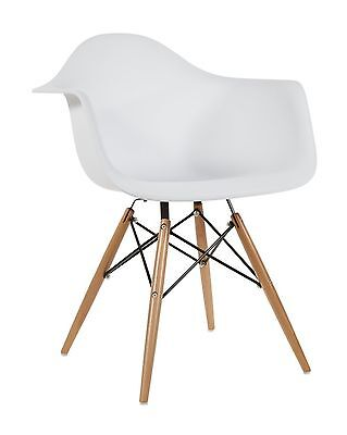 Set of 2 White - Eames Style Armchair with Natural Wood Legs Eiffel Dinin... New