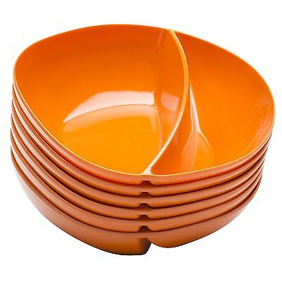 Zak Designs Moso Divided Bowl 7.5-Inch Orange Set of 6 New