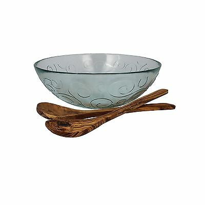 French Home Salad Bowl with Olive Wood Servers Clear/Natural Wood Grain New