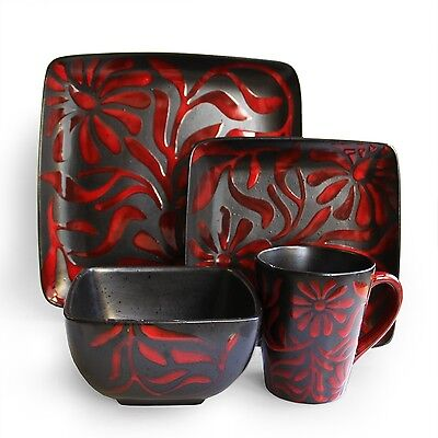 American Atelier 16-Piece Dinnerware Set Daisy Red New