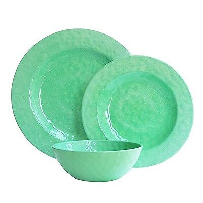 American Atelier 1790057-12 12-Piece Round Dinnerware Set Green New
