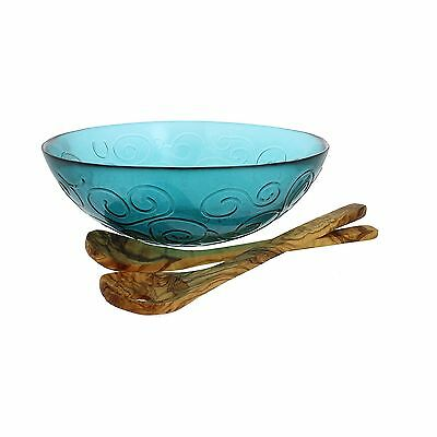 French Home Salad Bowl with Olive Wood Servers Capri Teal/Natural Wood Gr... New