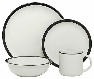 Melange Contempo Cantina Porcelain 16-Piece Place Setting Black Serving f... New