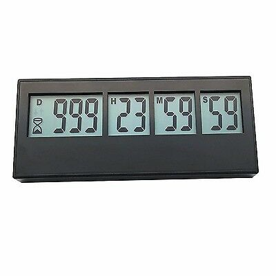 Digital 999 Day Countdown Timer Event Reminder Weekly LCD Black Big Labor... New