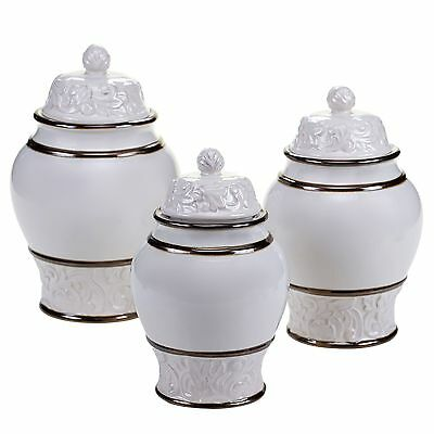 Certified International 57606 3 Piece Solstice Canister Set Cream New