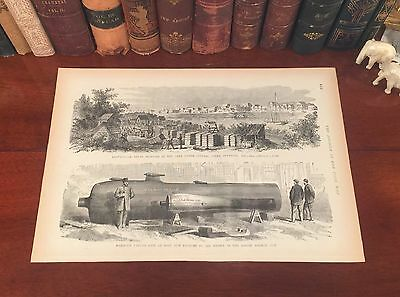 Fine Original Antique Civil War BROWNSVILLE Texas TX Wood Engraved Panoramic Map